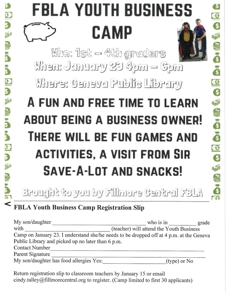 FBLA American Enterprise After-School Camp Registration Form