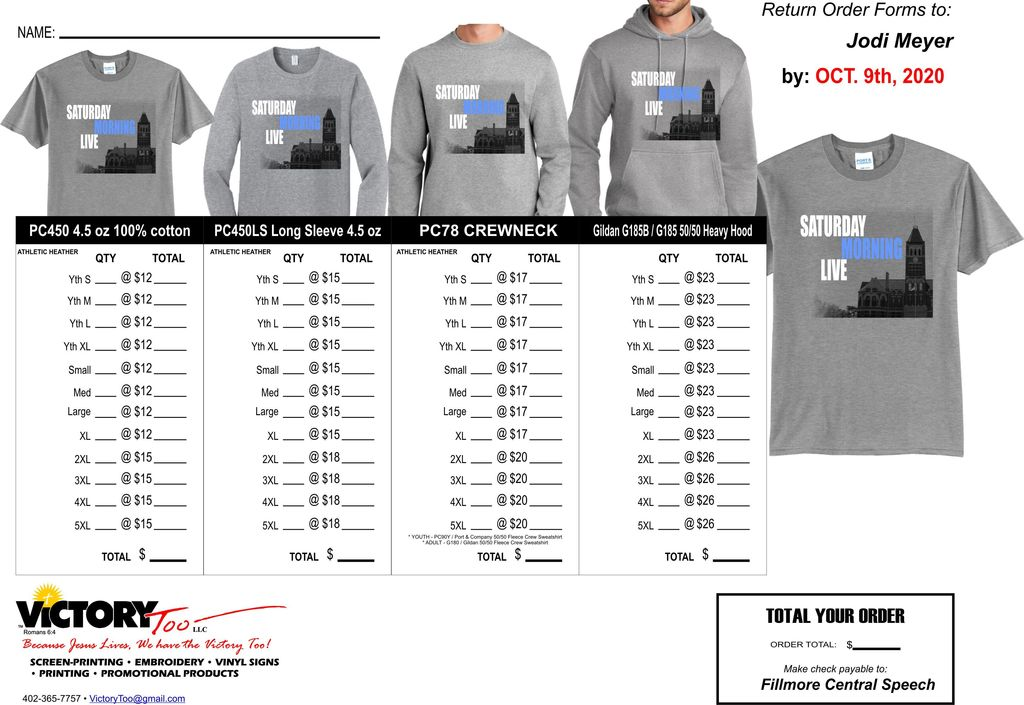Speech Shirt Order Form