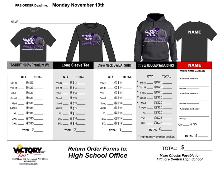Basketball Shirt Order Form