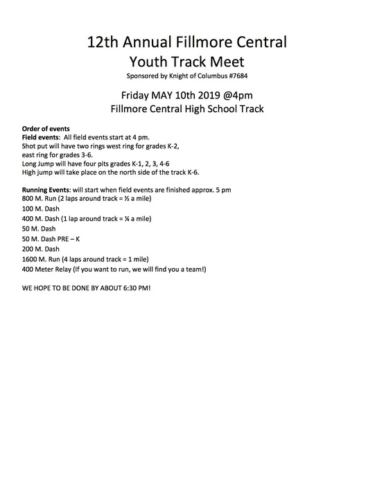 FC Youth Track Order of Events