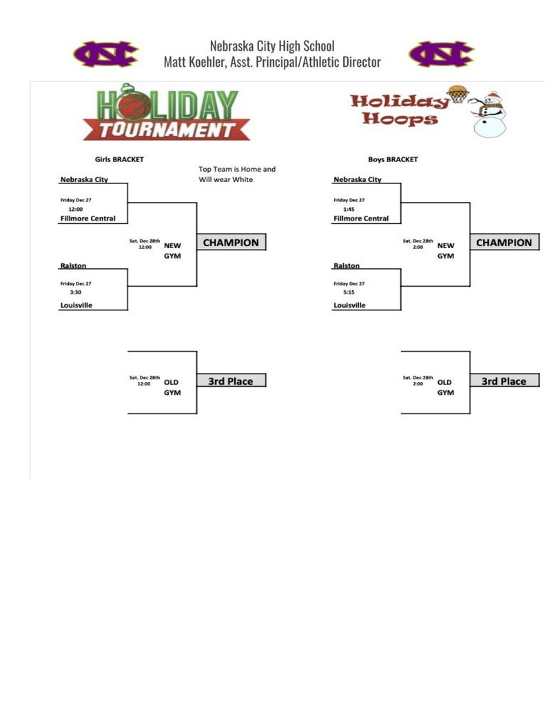 Holiday Tournament Brackets