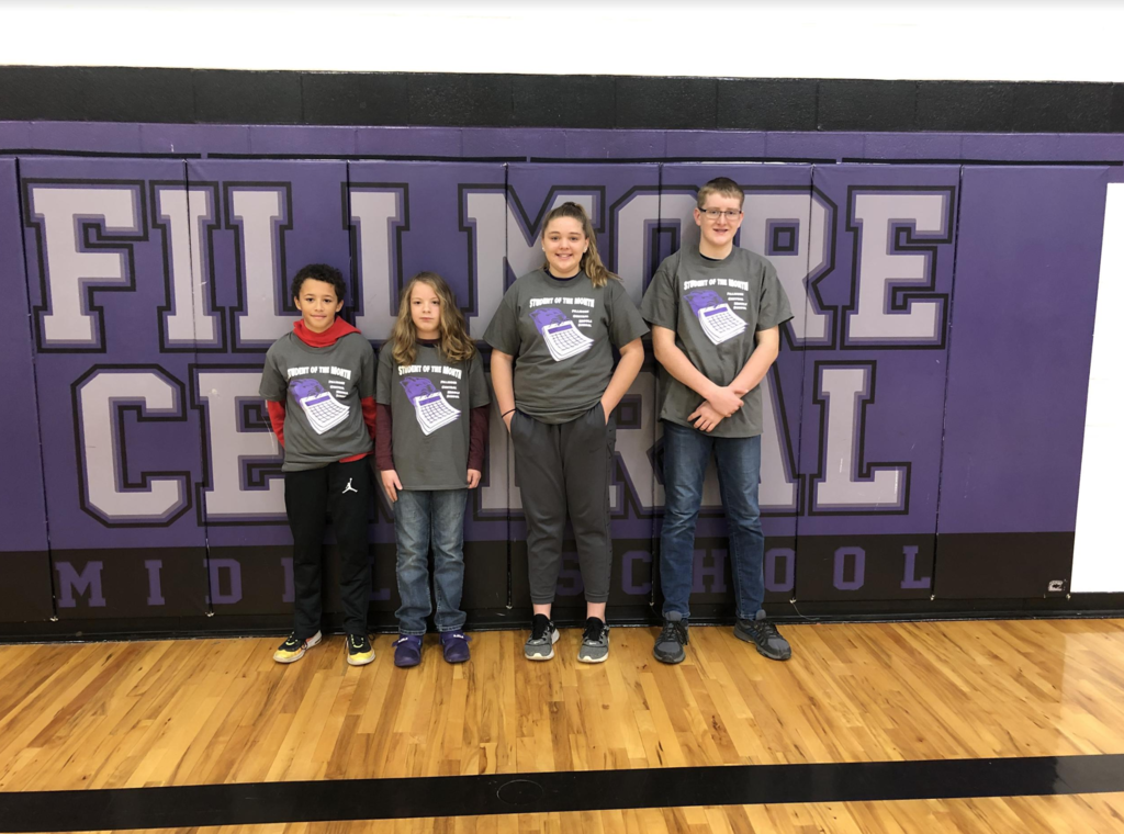 Congratulations to the November Students of the Month.  5th Grade:  Kinyon;  6th Grade:  Aiden;  7th Grade:  Bailey; and 8th Grade:  Carson