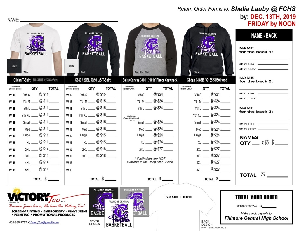 BBall Shirt Order Form